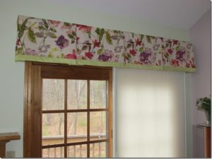 Custom pleated valance and vertical cell shade