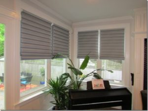 "Hunter Douglas ""Solera"" Roman shades"