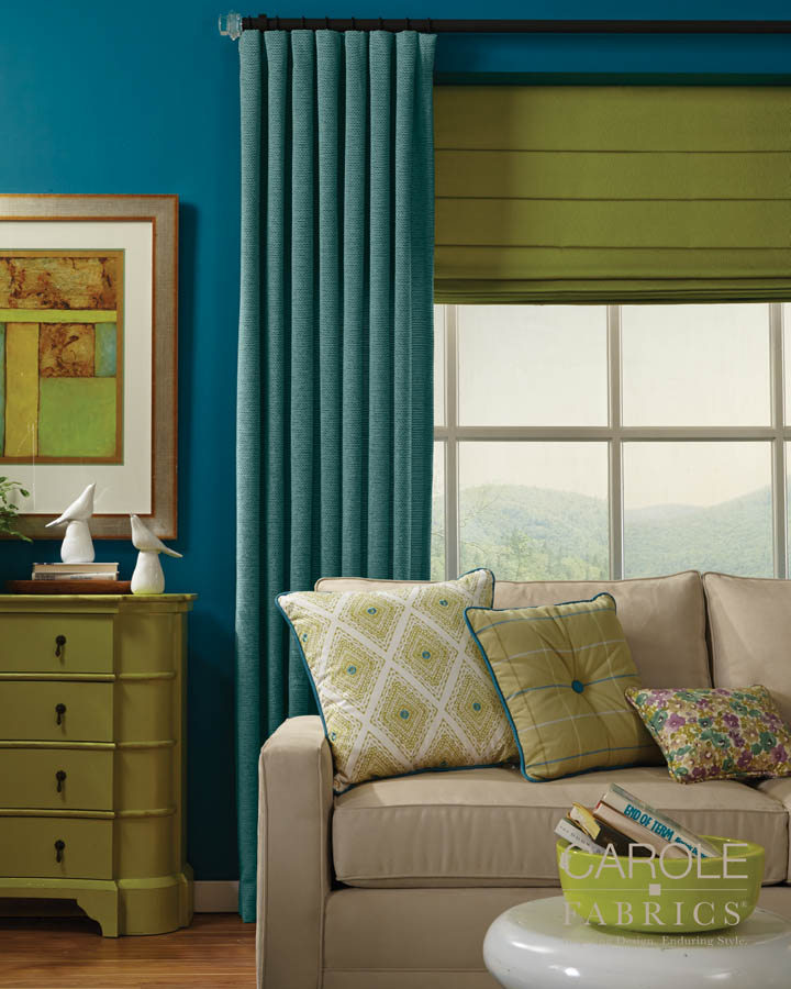Carole Fabrics Blue and Green Room